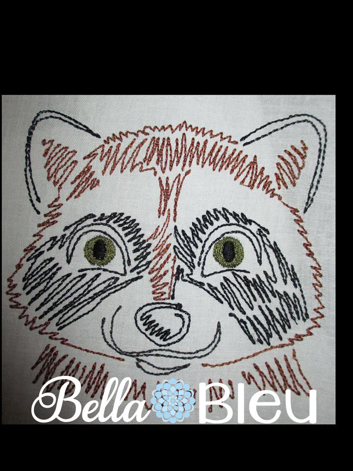 Raccoon Wild Animal machine Colorwork embroidery design