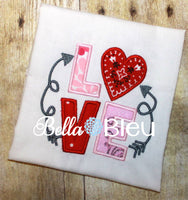 Love Valentine and Arrows Applique Machine Embroidery Design