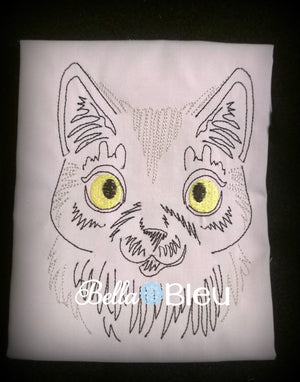Kitty Cat #3 Adorable colorwork embroidery machine design