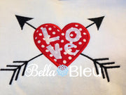Applique Valentine Heart With Arrow Machine Embroidery Design