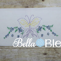 Retro Butterfly & Flowers Pillowcase machine embroidery design