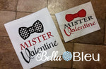 Adorable  Mister Mr Valentine with Bow Tie Boy Applique Machine Embroidery Design