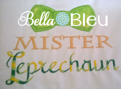 Boys Mister Leprechaun with Bow tie Machine Applique Embroidery Design