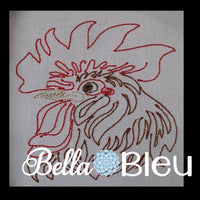 Beautiful Rooster #5 Machine Embroidery Colorwork Design
