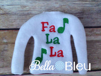 ITH Fa la la Elf Sweater Shirt with Music Notes Embroidery Design