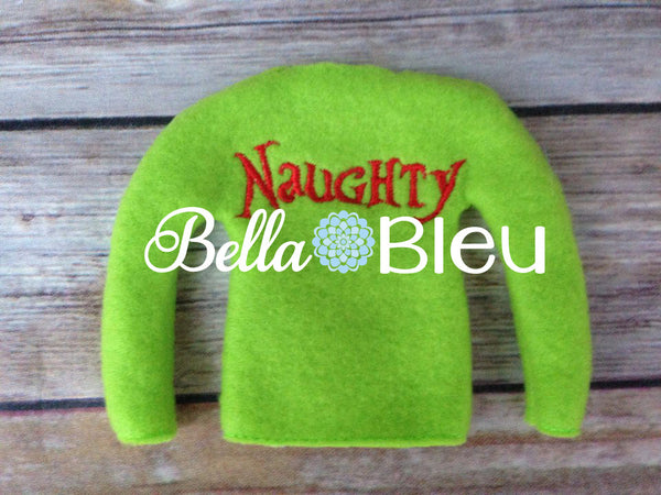 ITH In The Hoop Elf Naughty Sweater Shirt Machine Embroidery Design