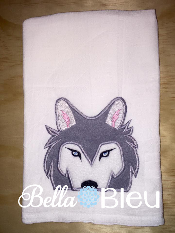 Husky Wolf Towel Topper Peeker Machine Embroidery Applique Design