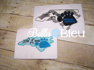 North Carolina State Mashup Applique Heels Panthers Embroidery Design