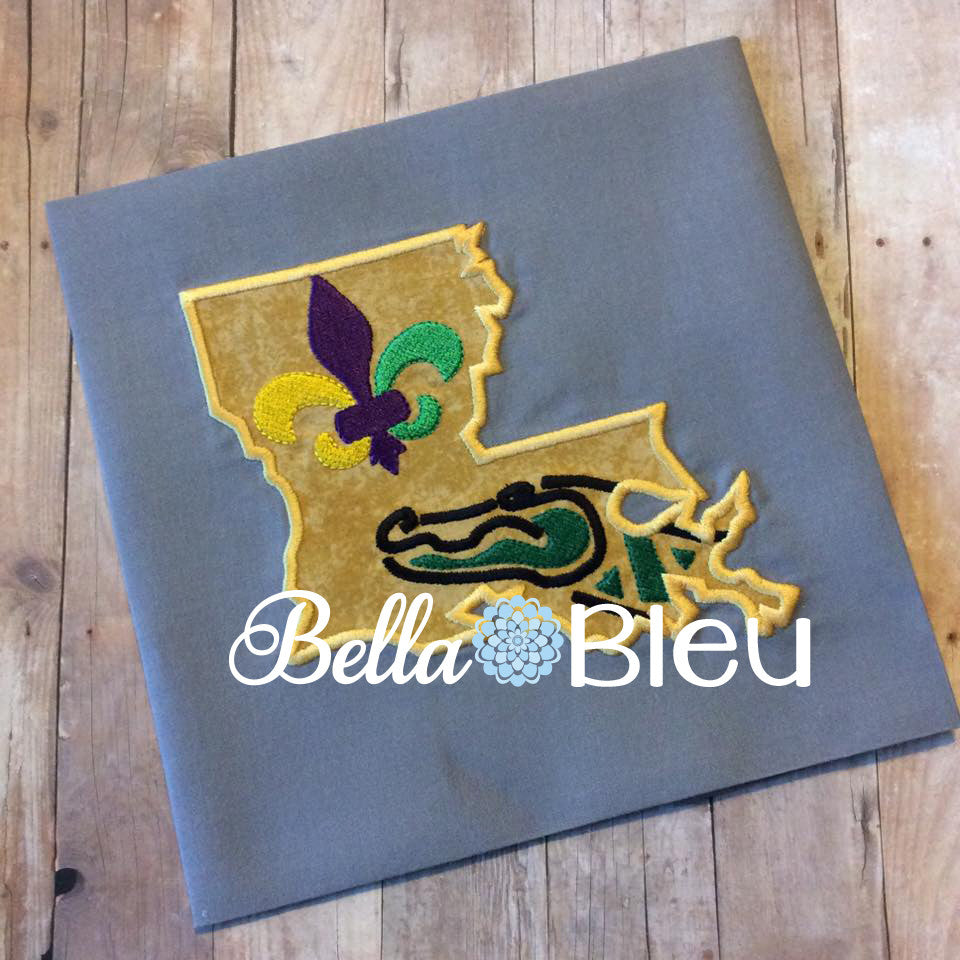 State of Louisiana Mash up Gators fleur de lis Mardi Gras Machine Applique Embroidery Design