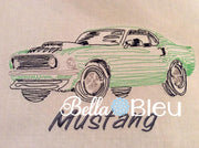 Mustang Muscle Car colorwork redwork machine embroidery quick stitch design