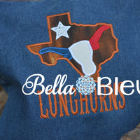 Lone Star State of Texas Mashup with Longhorn and Star Machine Embroidery design