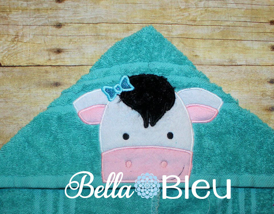 Girl Cow With Bow Hooded Towel Topper Peeker Machine Applique