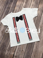 Clothing Add on's Suspenders and Bowtie Applique Machine Embroidery Design