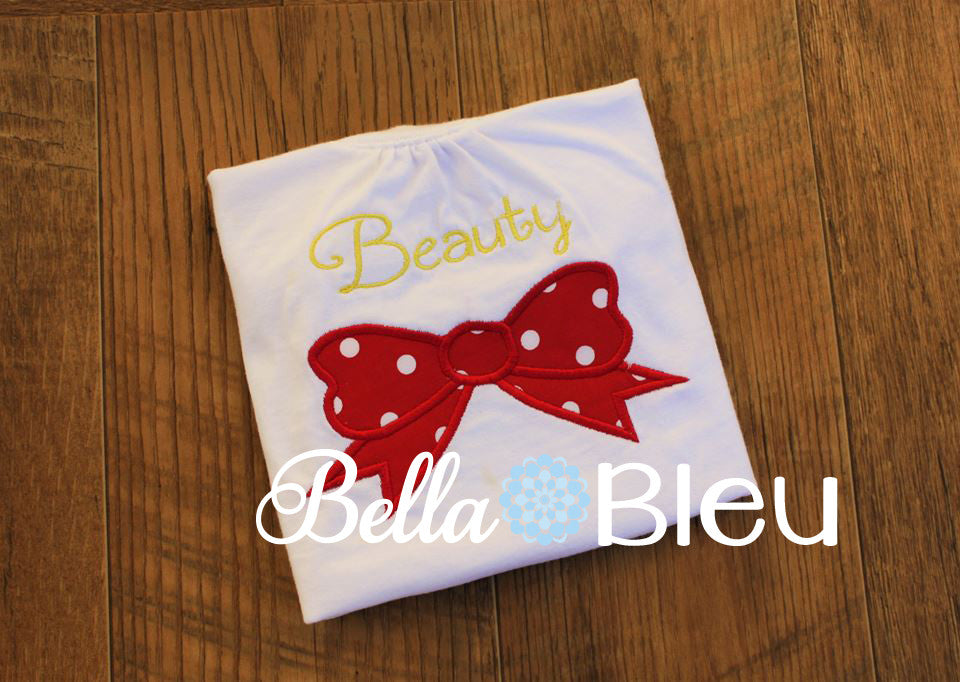 Beauty with a bow machine applique embroidery design