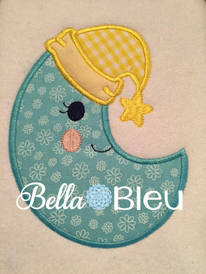 Applique Baby Moon with Hat Machine Embroidery design
