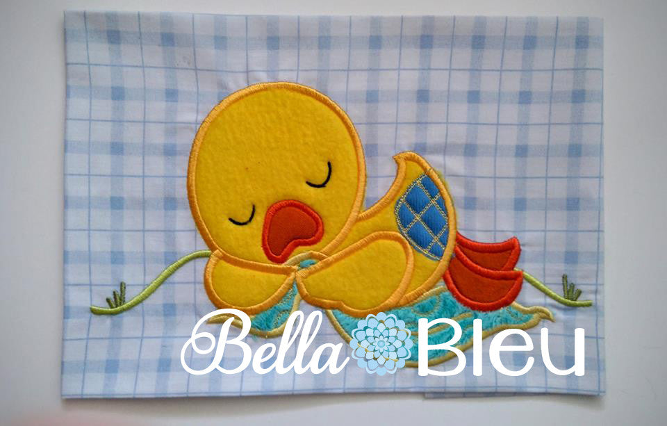 Beautiful Sleeping Baby Boy Duck Machine Applique Embroidery design