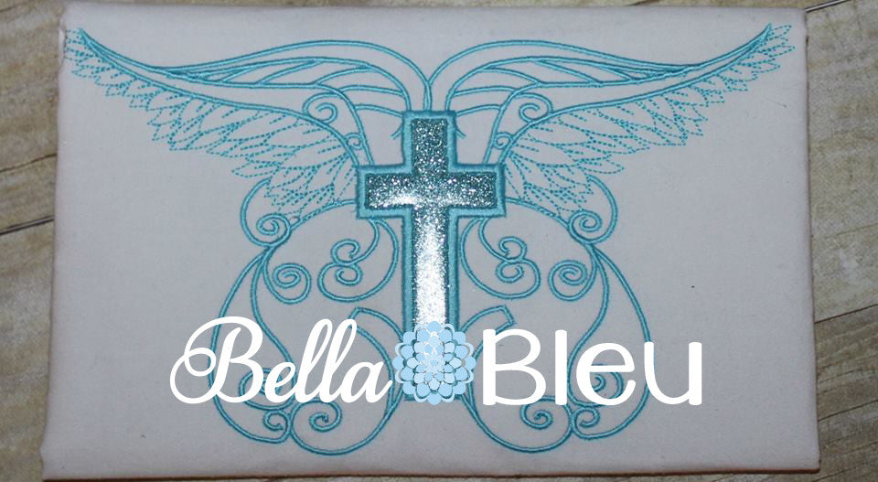 Beautiful Angel Wings with Applique Cross Machine Embroidery Design