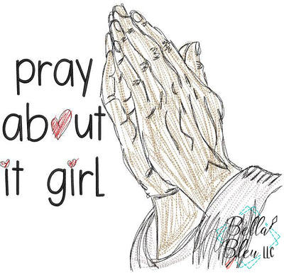 Pray About It Girl Religious Scribble