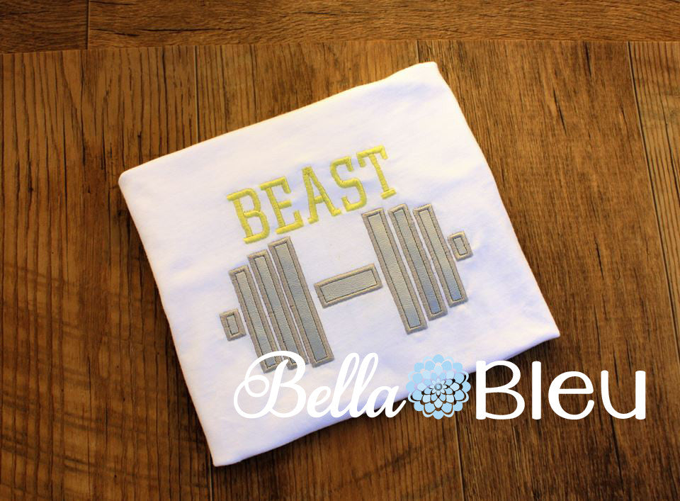 Workout Weights Beast Machine Applique Embroidery Design