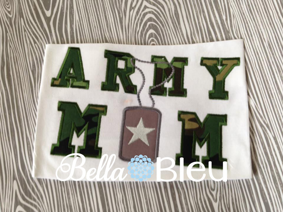 Army Mom Machine Applique Embroidery Design 5x7