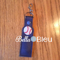 ITH In the hoop baseball softball chapstick key fob machine embroidery design