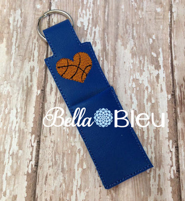 ITH In the hoop heart basketball chapstick holder machine embroidery design