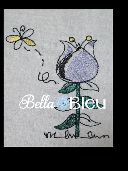 Sketchy Tulip and Butterfly Machine Embroidery Design