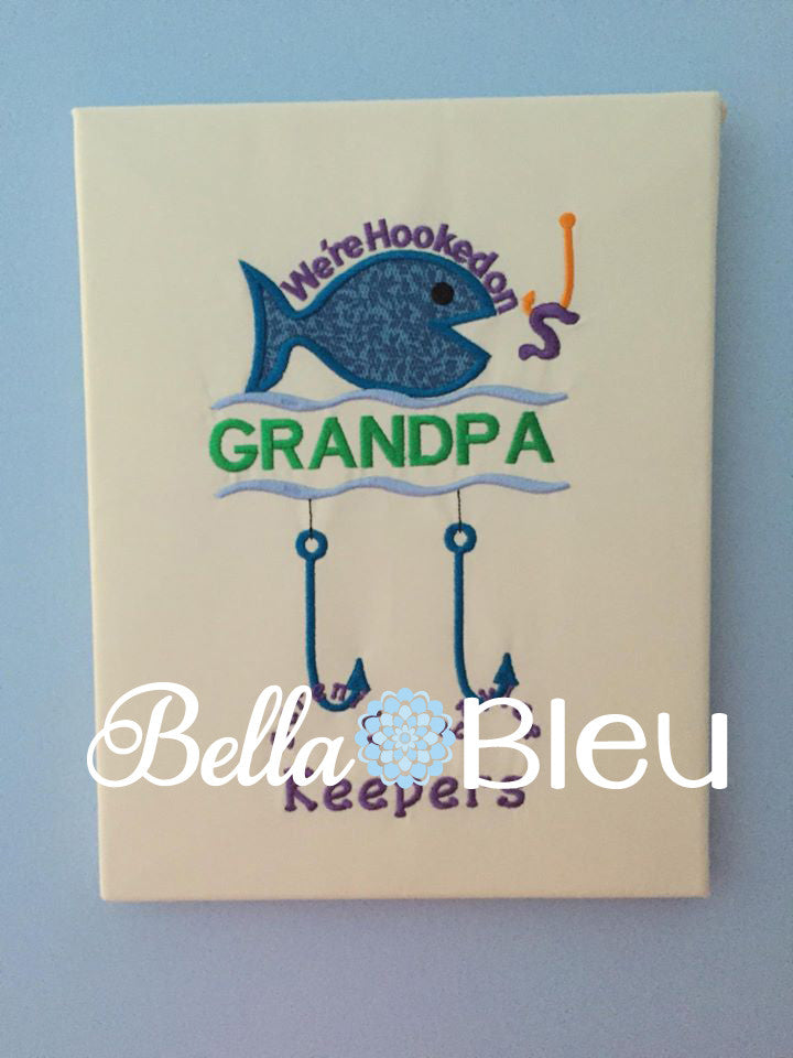 Hooked on Grandpa Fishing Hook Grandkids Machine Applique Embroidery Design Fathers Day