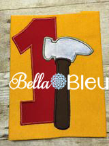 Baby's 1st Birthday Tool Time Hammer Number, Hammer Tool One Number Machine Applique Embroidery Design
