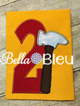 Baby's 2nd Birthday Tool Time Hammer Number, Hammer Tool 2 Second Two Number Machine Applique Embroidery Design