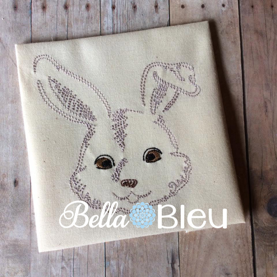 Beautiful Colorwork Redwork Adorable Farm Bunny Rabbit Machine Embroidery Design
