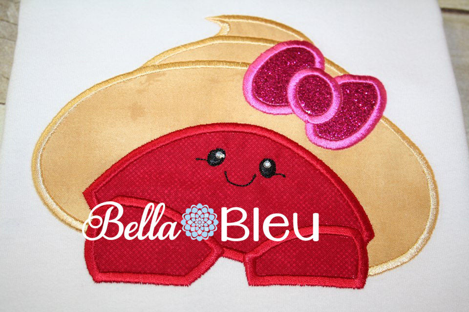 Hermit Crab Girl Hooded Towel Topper Bib Peeker Machine Applique Embroidery Design