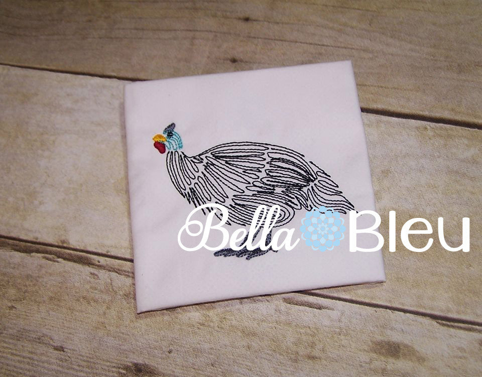 Guinea Hen Bird Farm Machine Embroidery Design