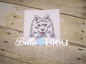 Beautiful Alaskan Eskimo Dog Colorwork Embroidery Redwork design machine embroidery