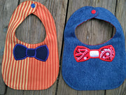 ITH In The hoop Bib with Bowtie applique machine embroidery design