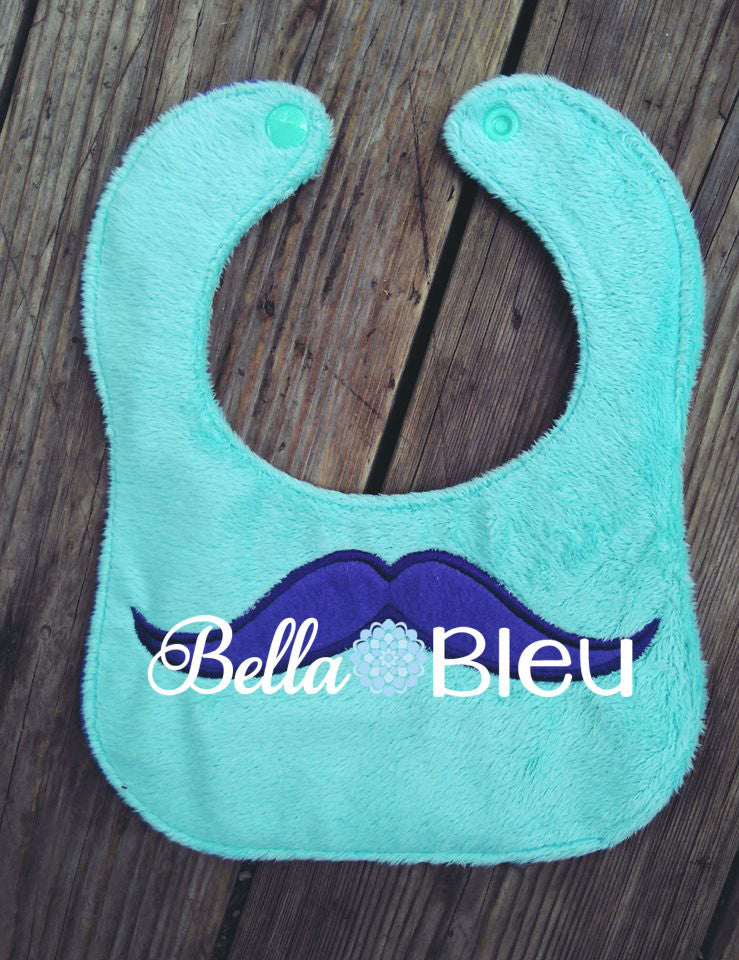 ITH In The hoop Baby Bib with Mustache Design Machine Embroidery Design