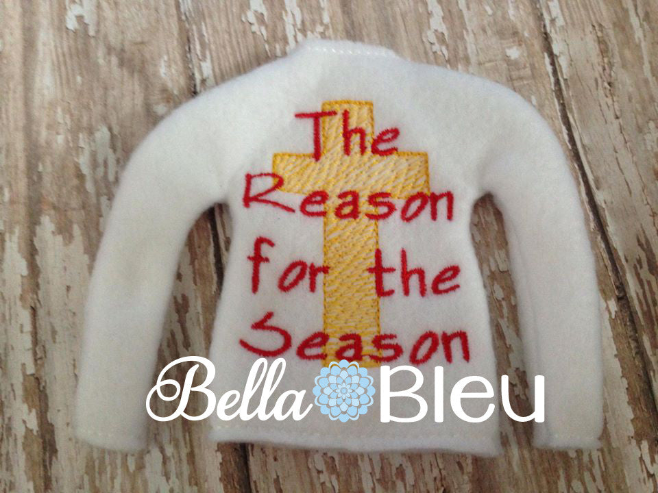 "ITH In The Hoop Elf ""The reason of the Season"" Christmas Cross Sweater Shirt Machine Embroidery design"
