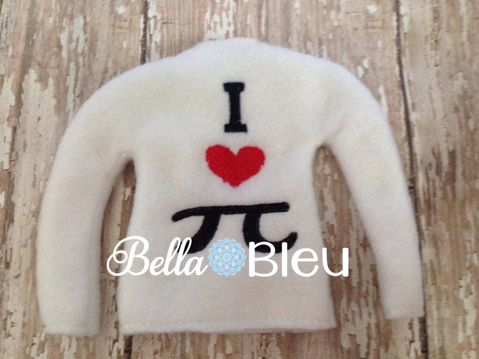 ITH In The Hoop Elf I love Heart Pi Sweater Shirt Embroidery Design