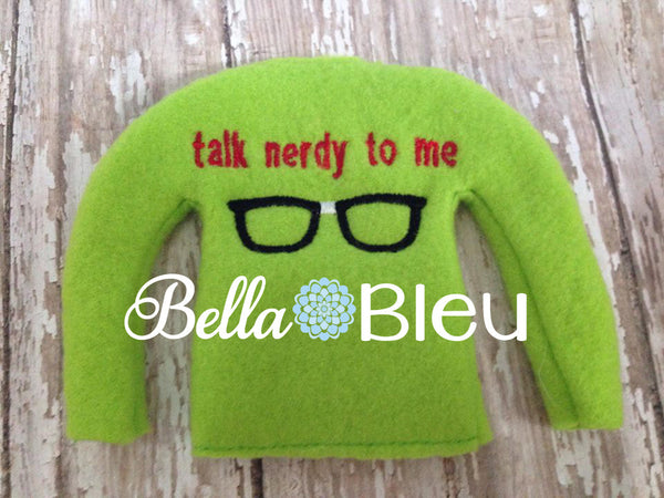 "ITH In The Hoop Elf Geek Geeky ""Talk Nerdy to me"" Sweater Shirt embroidery design"