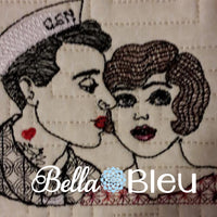 Vintage Military Navy Retro Urban Rockabilly Navy Couple Colorwork Machine Embroidery design
