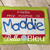 Hello My name is baby Applique Name tag Perfect for announcement pictures