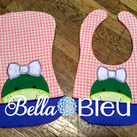 ITH In The Hoop Baby Bib With Girl Turtle Easter Machine Embroidery Design