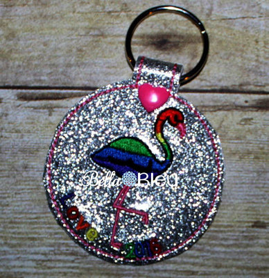 ITH In The hoop Flamingo Key Fob Luggage Tag Design Machine Embroidery Design