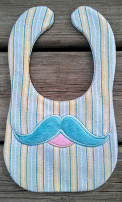 ITH In The hoop Bib with Mustache applique machine embroidery design