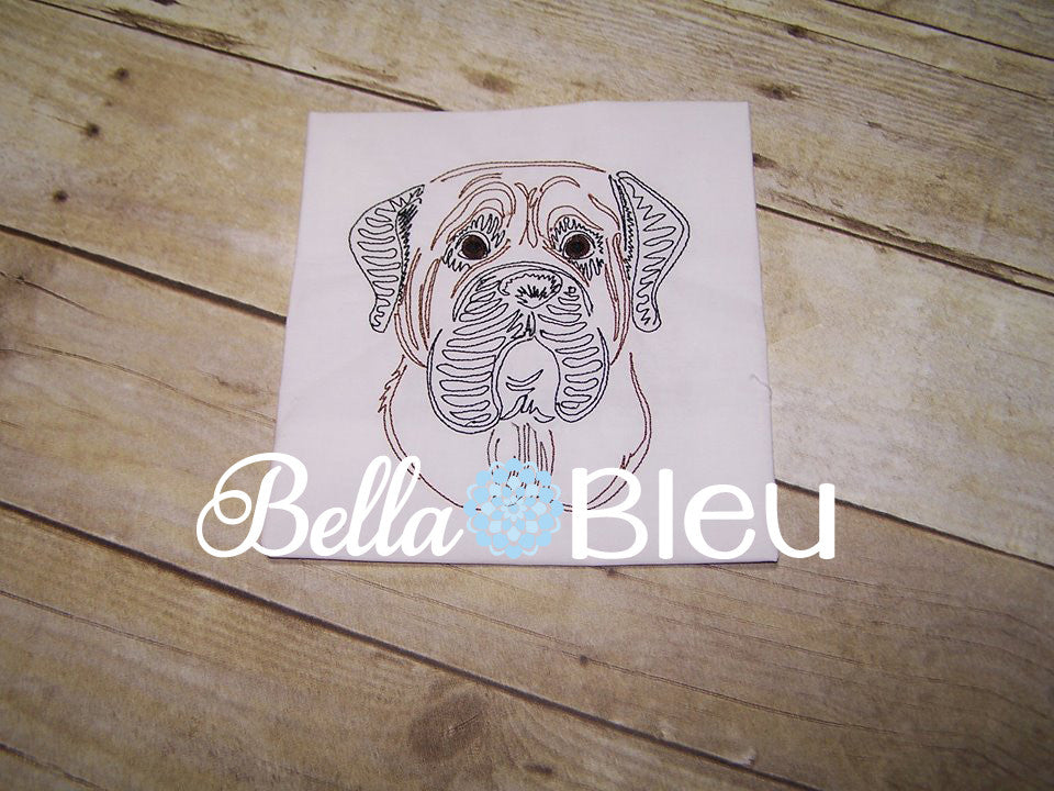 Mastiff Dog machine embroidery design Colorwork Redwork