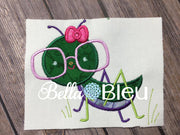 Applique Exclusive Grasshopper Girl Machine Embroidery Design bugs insects