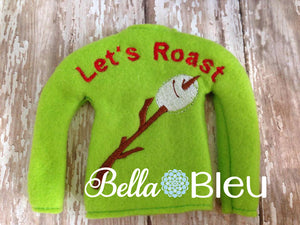 ITH Elf Let's Roast Marshmallows Sweater Shirt Machine Embroidery design