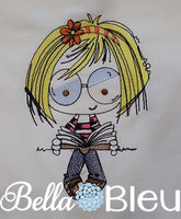 Adorable Girl with Glasses Library Girl Book Colorwork Embroidery design