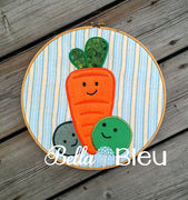 Baby Peas and Carrots Machine Applique Embroidery Design