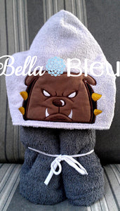 Bulldog dog Hooded towel topper peeker Machine Embroidery design
